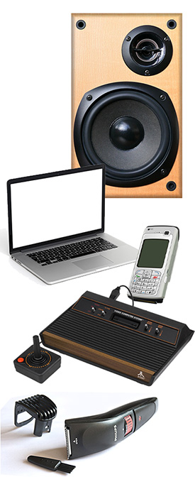 Images of electronic items: Stereo speaker, laptop computer, cellular phone, game console and electric hair clippers.