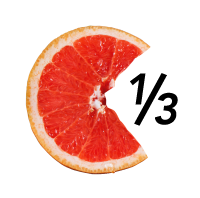 "Infographic/ illustration - Image of half a grapefruit with 1/3 of segments missing, with ""1/3"" figure in empty space."
