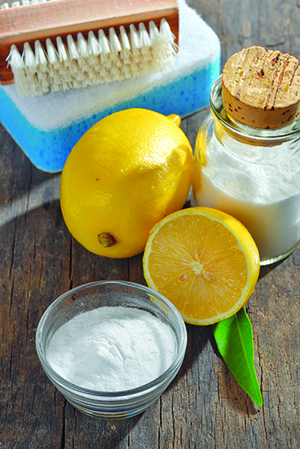 Photo of baking soda, lemons, salt and cleaning sponges.