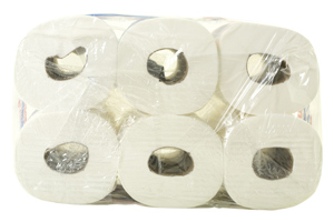 6-pack of bathroom tissue in plastic overwrap