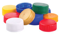 Photo of pile of plastic lids and caps