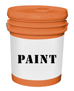 "five-gallon bucket labeled ""paint"""