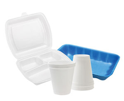 styrofoam food containers: restaurant takeout clamshell, coffee cups, meat tray
