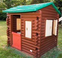 plastic log cabin playhouse