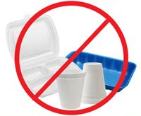 "photo of different polystyrene products that cannot be recycled in greater Kansas City, with international ""no"" symbol (red circle with diagonal line through center) superimposed over image"