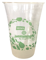 photo of drinking cup made from plant-based resin, compostable in commercial facility