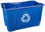 Photo of blue curbside recycling bin