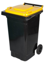 Photo of large curbside recycling bin with lid on wheels