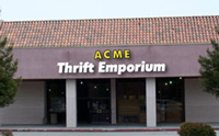 Photo of fictional thrift storefront