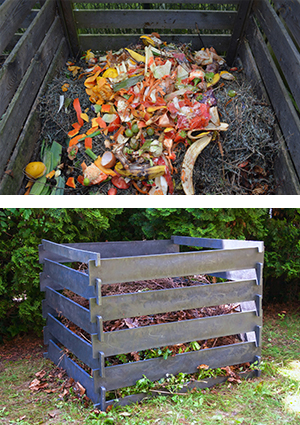 images of large outdoor composting bin. Top view with food scraps; bottom image side view from a distance.