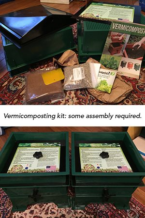 "images of a vermicomposting kit: top image of all kit components spread out, bottom image of assembled kit. Caption reads: ""Vermicomposting kit: some assembly required."""