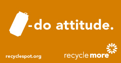 "Art with aluminum can icon and Recycle More logo on orange background. Reads: ""can-do attitude. recyclespot.org."""