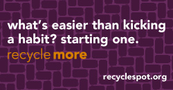 "thumbnail of social media art: Purple background with darker purple aluminum can pattern. Text reads: ""what's easier than kicking a habit? starting one. Recycle more. recyclespot.org"""