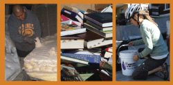 Photos of past grantee projects, and/or district grant priority target materials. From right to left: Man deconstructing a mattress, used books, woman collecting food waste.