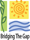 Bridging the Gap logo. Bridging the Gap  is a Recycle More At Work partner.