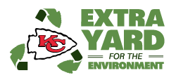 Kansas City Chiefs Extra Yard for the Environment logo. The Kansas City Chiefs are a a Recycle More At Work partner.