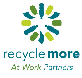 "Recycle More logo, Vertical format, plus ""At Work Partners"""