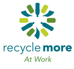 "Recycle More logo, Vertical format with tagline that reads: ""Every little bit counts."""